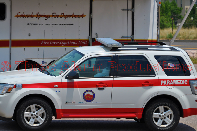 Jon Webb, American Medical Response Supervisor, driving Quick Response Vehicle-2, arriving at Colorado Springs Staging area for the Waldo Canyon Fire.