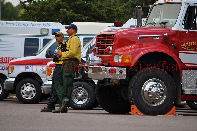 Fire Fighters from South Metro Fire Rescue waiting to be dispatched from Colorado Springs Staging Area.
