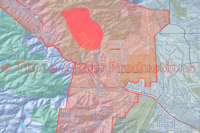 "A Fire Map of the Waldo Canyon Fire Incident, on ""Day 2"" of the wildfire, with Cedar Heights Subdivision, being threatened with immediate danger."