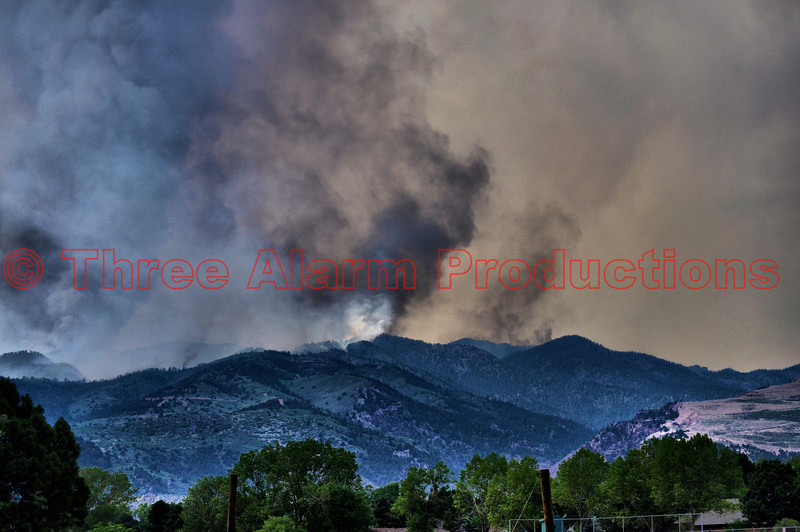The Waldo Canyon Fire near Colorado Springs, Colorado, USA, as seen from the media staging point at Coronado High School in Colorado Springs.