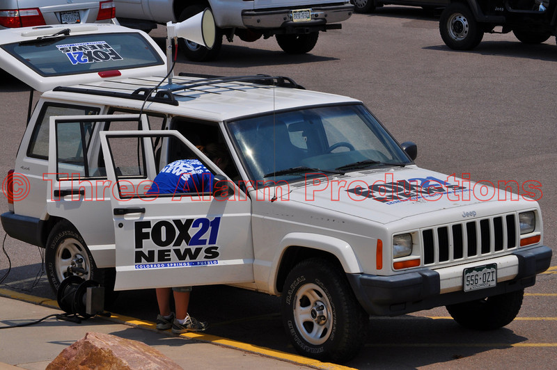 Fox 21 News Colorado Springs, at the media staging point-Coronado High School, doing coverage of the Waldo Canyon Fire Incident.
