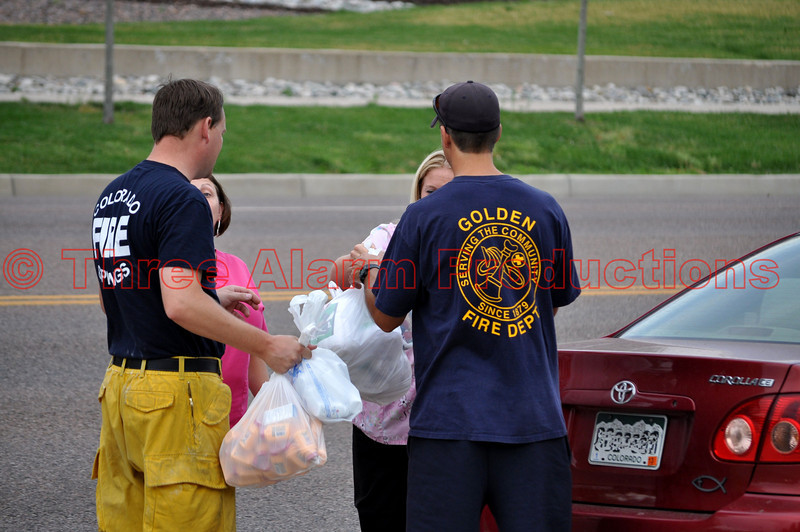 Kind-hearted people from the community dropping off supplies for fire fighters at Colorado Springs, Station 6.
