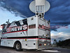 One of the many media trucks at the Media Staging Point at UCCS on Austin Bluffs Parkway, Colorado Springs.