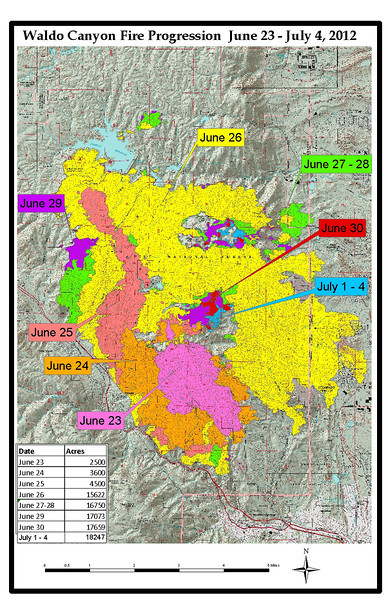 "Map of Waldo Canyon Fire Progression from June June 23-July 4, 2012. Map provided by: <a href=""http://www.inciweb.org/"">http://www.inciweb.org/</a><br /> >>><br /> Investigators are seeking the public's help for possible leads to the exact cause of the Waldo Canyon Fire. U.S. Forest Service Investigators are looking for people who were in the Waldo Canyon area at or around time of ignition and may have seen something that will help the investigators. If you were in the Waldo Canyon or Pyramid Mountain area on Friday 6/22 or Saturday 6/23 please call 719-477-4205 and leave your name, contact number and someone will return your call. Investigators are hoping that with the public's help, they can determine the cause of the Waldo Canyon Fire."