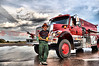 Brandie Smith with South Arkansas Fire Protection District, Salida, Colorado, Tender 12 assigned to the Waldo Canyon Fire for water shuttling operations.