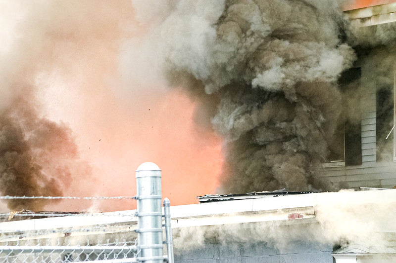 Smoke billows from a blaze at Letoile Roofing Company in Haverhill, MA.