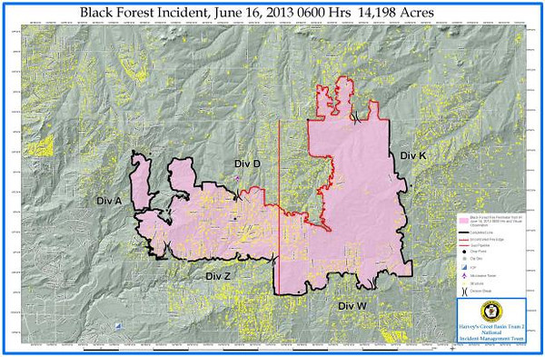 June 16, 2013 Fire Map of the Black Forest Fire Incident that is located North of Colorado Springs, Colorado in El Paso County.