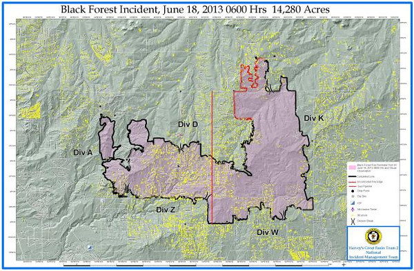 Black Forest Fire Incident Map, June 18, 2013 0600 Hours, 14,280 Acres