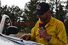 A wildland firefighter with Lafayette Fire Department in Colorado, working on Day 8 of the Black Forest Fire Incident.