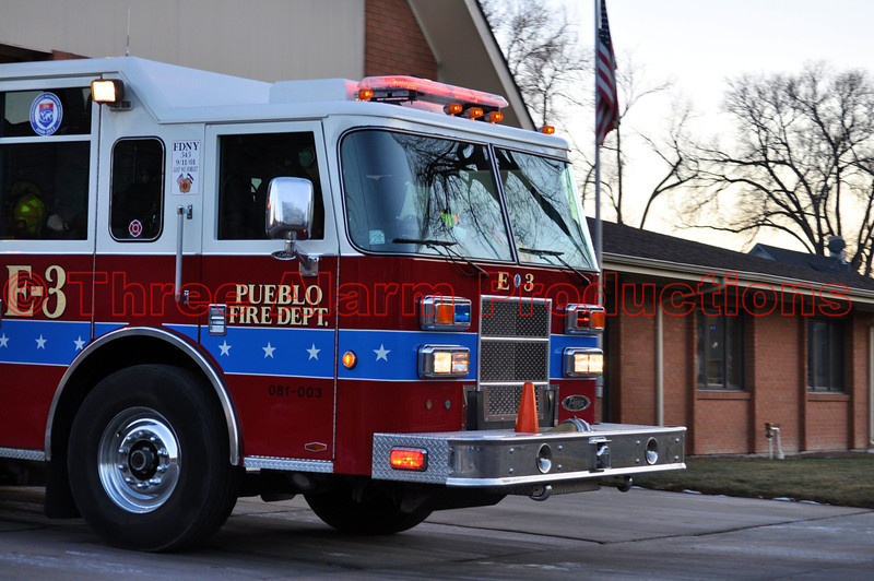 The City of Pueblo, Fire Engine No. 3, leaving the station, enroute to a carbon monoxide alarm on January 1, 2013. Engine 3 is the busiest engine company in Pueblo, Colorado.