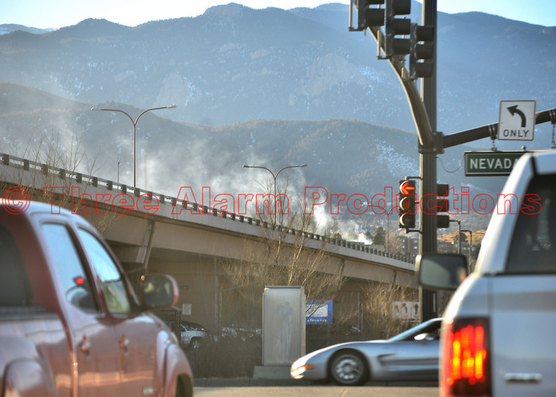 Two-Alarm apartment fire on Crestone Lane, as seen from Interstate 25 and Nevada Avenue. Date of incident-January 21, 2014