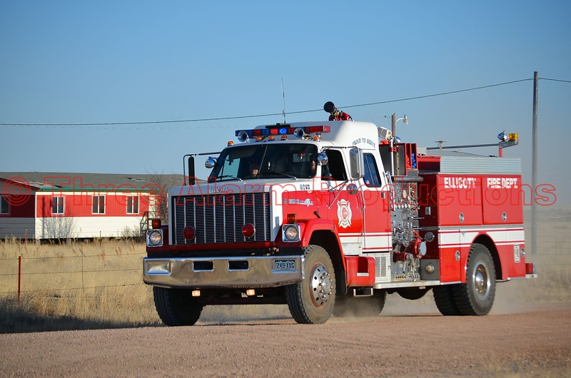 Ellicott Fire Department's Fire Engine 3313, approaching the scene of a wildland fire in El Paso County, Colorado. March 28, 2015