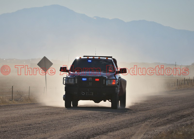 Hanover Fire Chief responding to a wildland fire in Ellicott, Colorado. March 28, 2015