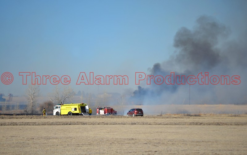 Ellicott Firefighters working a wildland interface fire in eastern El Paso County, Colorado. March 28, 2015