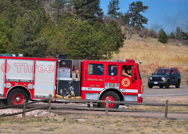 Palmer Lake Fire Engine 2015 pulling into the staging area on the Monument Fire Incident.
