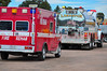 "Pikes Peak Firefighters Fire Rehab Unit and a Larkspur Tender at the staging area at ""The New Santa Fe Trailhead"". This was only a tiny portion of resources that responded to the Monument structure fire on November 8, 2013."