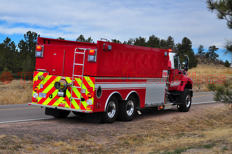 Air Force Academy Tender 2160 staged for the Monument structure fire.