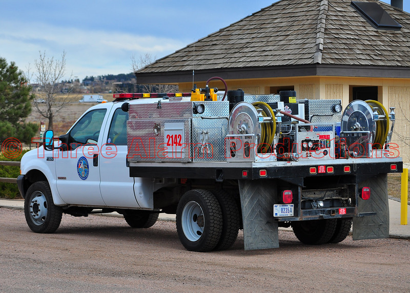 Air Force Academy Fire Department's Brush Truck 2142 at staging.