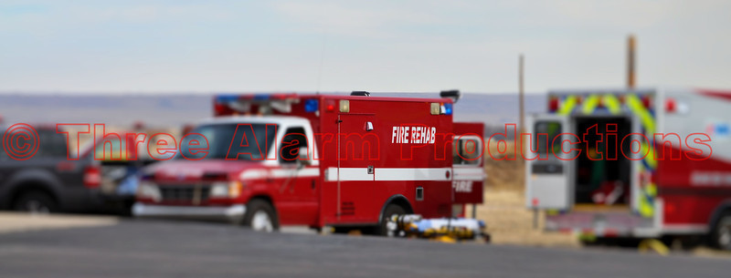 Pikes Peak Fire Fighters Association's Fire Rehab Unit and Crew, on the scene of a structure fire in Falcon, Colorado.