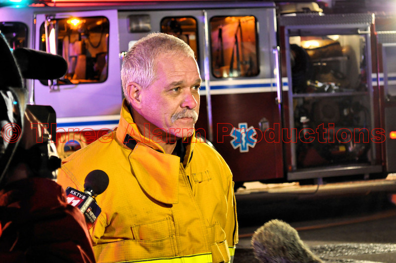 Colorado Springs Fire Department PIO, Lt. Jeff Sievers, on scene giving details of the fire to media.