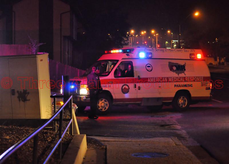 AMR Medic-21 responding to a 3-alarm apartment fire in Colorado Springs, Colorado.