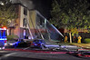 """On October 6, 2013, around 10:15 P.M., Colorado Springs Fire Department responded to an apartment fire at 4615 Hinsdale Way, near Austin Bluffs Parkway and Barnes Road. First alarm companies dispatched were, Engine 10 and 20, Truck 10, and Heavy Rescue 17. This apartment community is the Retreat at Austin Bluffs. Command reported fire through the roof at this apartment building and requested a 3rd alarm. Emergency crews worked on scene for hours to bring the blaze under control. Red Cross Officials were on scene taking care of 20 displaced residents. A PIO with Colorado Springs Fire, says the fire is still currently under investigation. As of 2:00AM Monday, CSFD PIO, reports that """"crews continue to work the fire on Hinsdale, no injuries have been reported, and fire investigators on scene""""."""