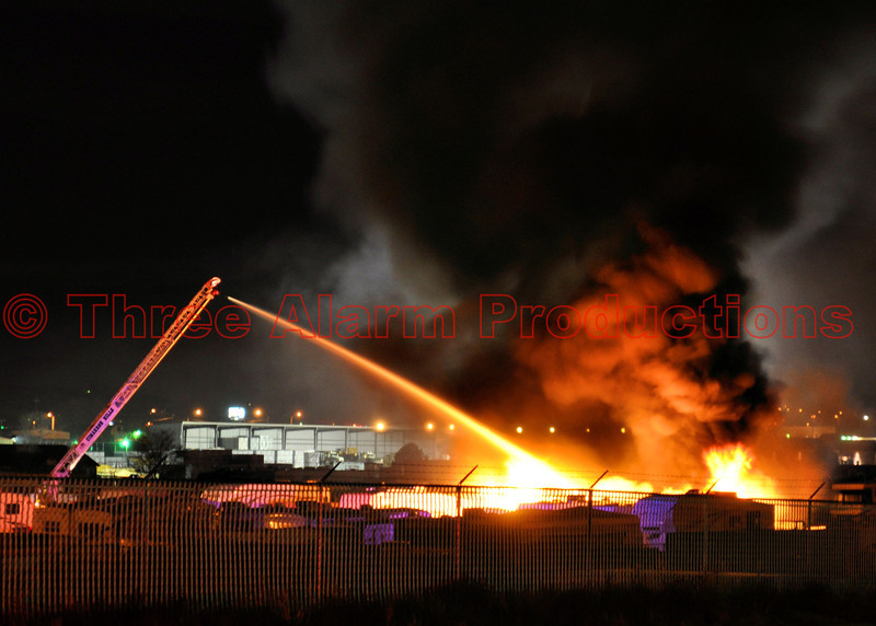 Cimarron Hills Ladder 1331 operating a master stream, to bring a storage lot fire under control early Friday morning.