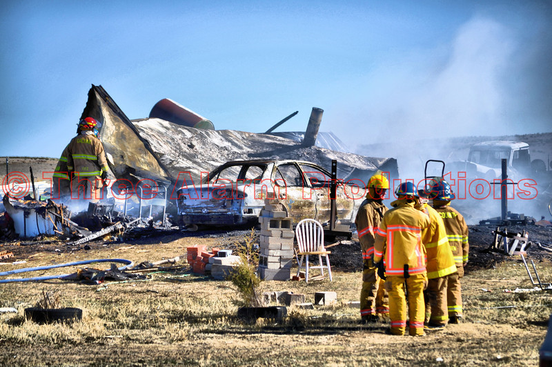 Mobile home destroyed by fire on March 24, 2012, near Ramah, Colorado.  Fire agencies responded from Simla, Tri-County, and Calhan to bring this blaze under control.