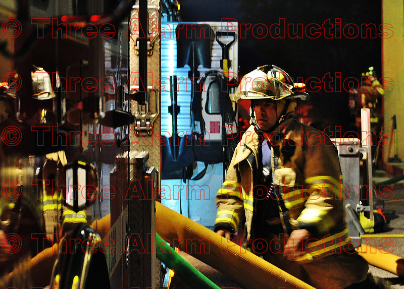 CHFD Driver/Engineer making sure all is well with the water supply to the hoses used going up to the third floor.