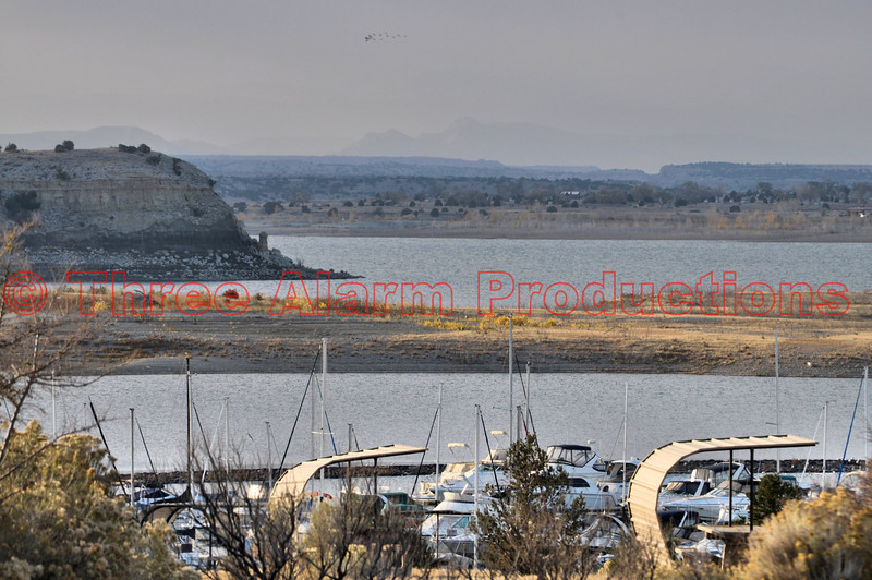 Thick haze from the Wetmore Fire, seen looking West from Southshore Marina at Lake Pueblo State Park.