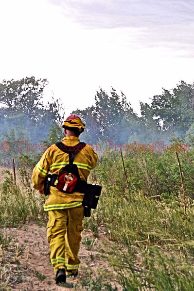 Lieutenant Matt Rasdall on the scene of a wildland fire.