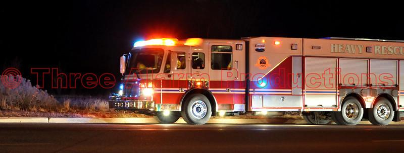 Colorado Springs Heavy Rescue 17 on the scene of a wildland fire in Cimarron Hills, Colorado.
