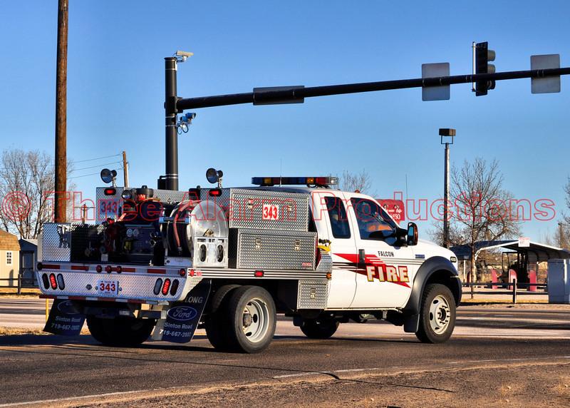 Falcon Brush Truck 343 responding to a wildland fire off of Colorado Highway 94 in Ellicott, Colorado.