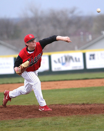 Boo Seward throws a pitch during a game against Wagoner.