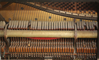 Inside view of a piano that came along for the ride. Music makes memories.