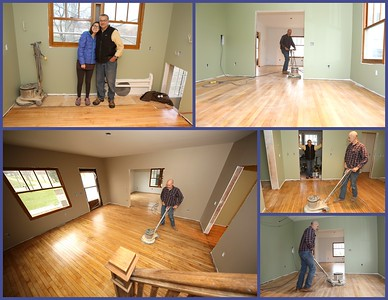 Sealing and buffing the maple wood floors - in the Home for the Holidays stretch