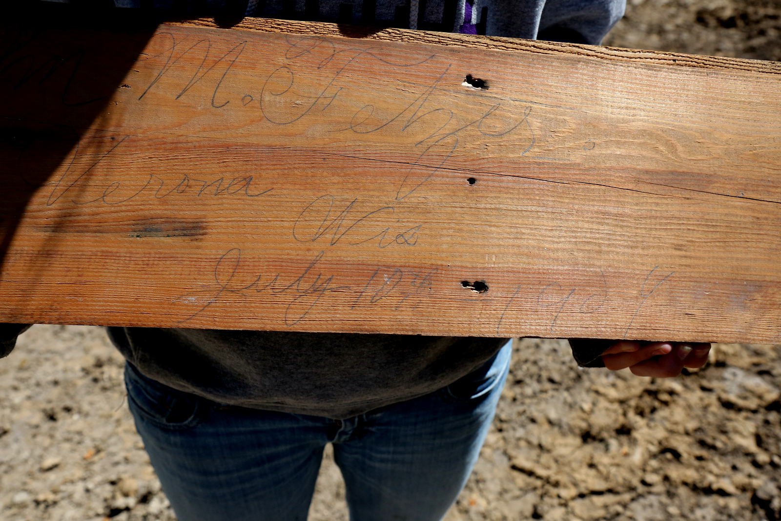Time Capsule: Signed Builder's Board found during tear down of the 1904 abode