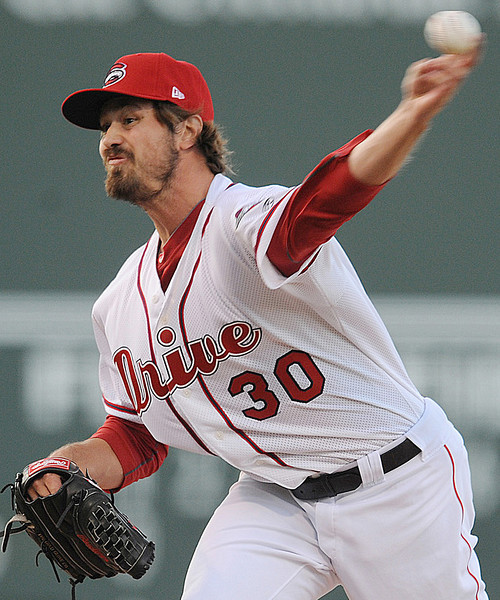 Andrew Miller pitched a scoreless second inning for the Drive.<br /> The Greenville Drive played host to the Lakewood Blue Claws in a South Atlantic League baseball game at Fluor Field in Greenville.<br /> GWINN DAVIS / Staff<br /> Greenville News Media Group<br /> gdavis@greenvillenews.com  <br /> (864) 915-0411<br /> April 7, 2012