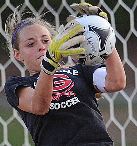 Greenville's Maggie Grisell (0) makes the save.<br /> The Eastside Eagles played host to the Greenville Red Raiders in a region soccer match.<br /> GWINN DAVIS / Staff<br /> Greenville News Media Group<br /> gdavis@greenvillenews.com  <br /> (864) 915-0411<br /> April 10, 2012