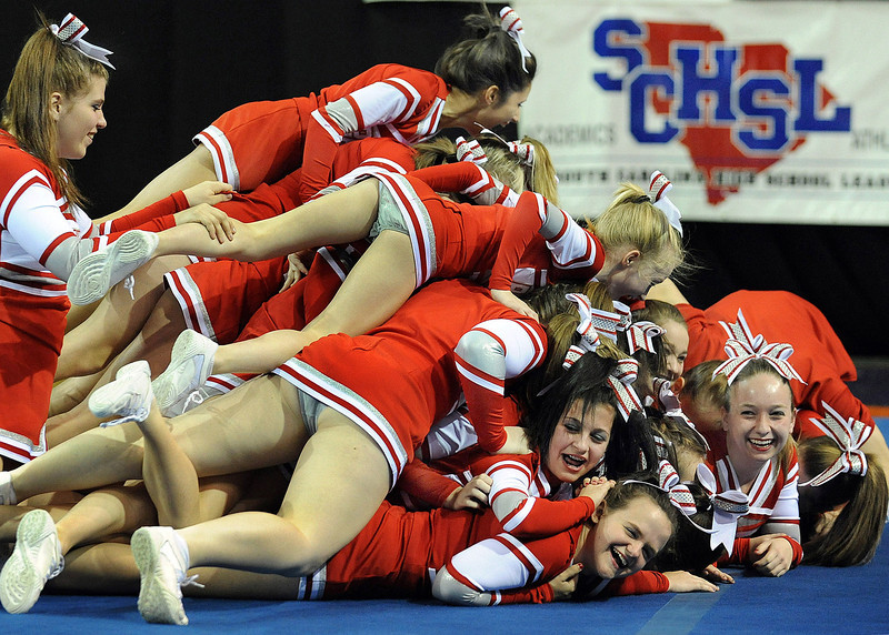 "Liberty High celebrates winning States in ""Dog Pile"" fashion.<br /> The South Carolina High School League held the State Cheerleading Championships at the Bi-Lo Center in Greenville.<br /> GWINN DAVIS PHOTOS<br /> (864) 915-0411<br /> gwinndavis@gmail.com"