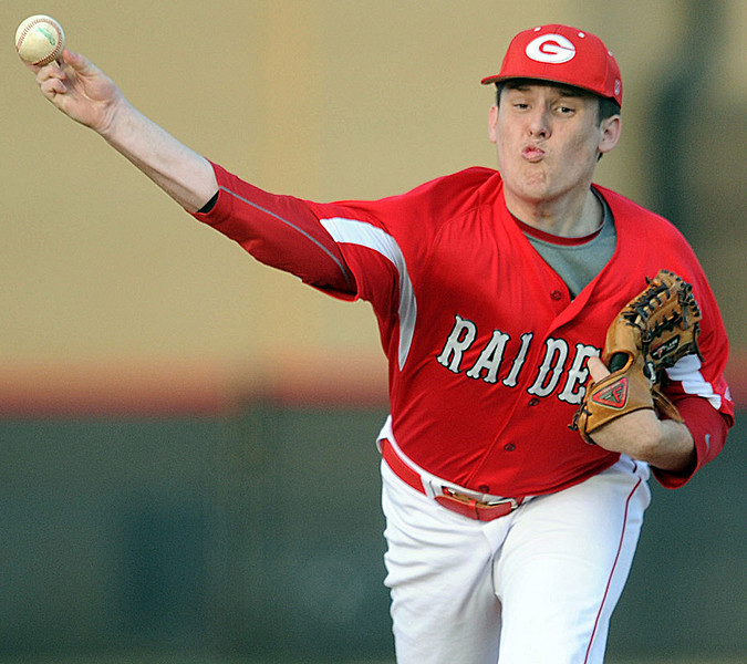 Greenville starting pitcher Steven Wohlrab recorded the win for the Red Raiders.<br /> The Greenville Red Raiders played host to the Travelers Rest Devildogs in a region baseball game.<br /> GWINN DAVIS / Staff<br /> Greenville News Media Group<br /> gdavis@greenvillenews.com <br /> gwinndavis@gmail.com <br /> (864) 915-0411<br /> April 13, 2012