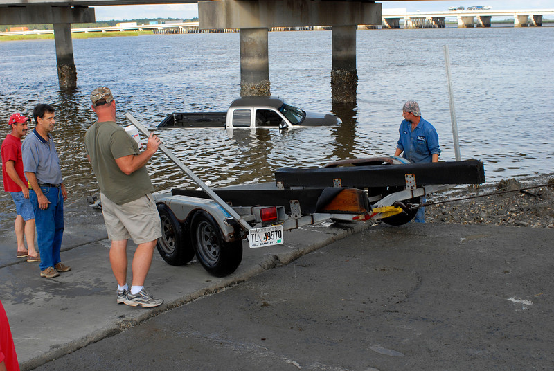 Truck launched at Turtle River boat ramp in Brunswick, Georgia - Truck retrieved by the Glynn County EMA Volunteers