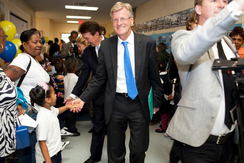 HRH Swedish Prince Daniel, Duke of Västergötland visits Miner Elementary school to promote healthy eating for schoolchildren in Washington, DC on September 26, 2011. With Swedish Ambassador Jonas Hafström.