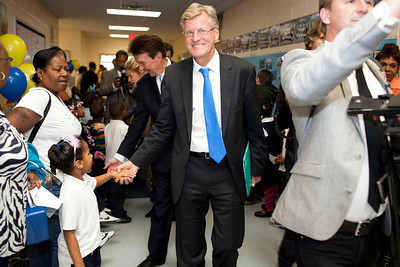 HRH Swedish Prince Daniel, Duke of Västergötland visits Miner Elementary school to promote healthy eating for schoolchildren in Washington, DC on September 26, 2011. With Swedish Ambassador Jonas Hafström.