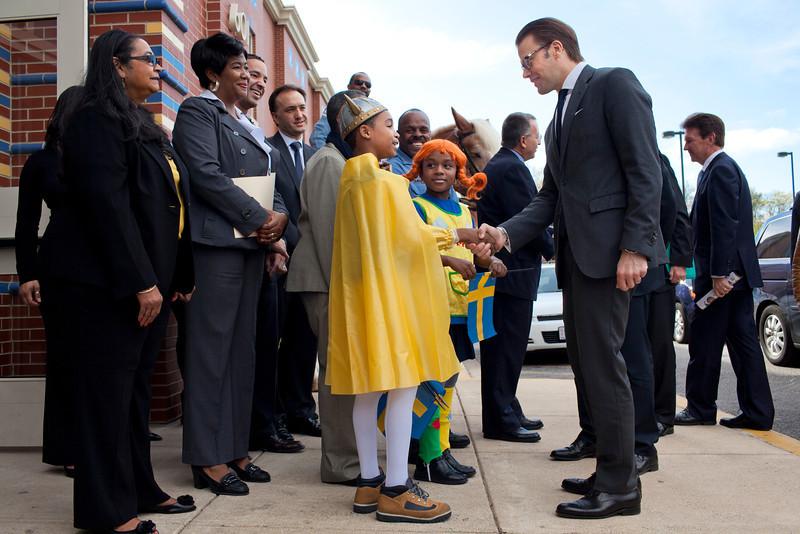 HRH Swedish Prince Daniel, Duke of Västergötland visits Miner Elementary school to promote healthy eating for schoolchildren in Washington, DC on September 26, 2011.