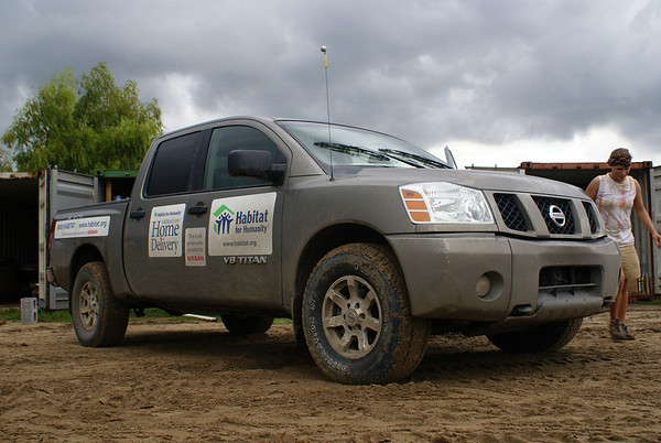 One of the Nissan trucks donated to 'Habitat for Humanity'.