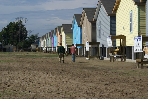 Rows of colorful homes, bring hope to the devestated neighborhood of the Ninth Ward, New Orleans.