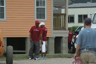 Members of Team Jordan outside one of the Habitat For Humanity homes.
