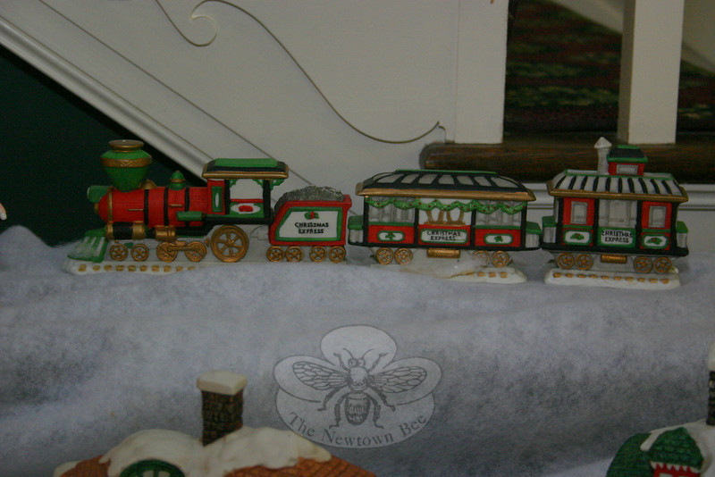 Details of a Christmas village display at C.H. Booth Library.  (Hicks photo)