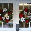 Wreaths on the entryway into Newtown Bible Church.  (Hicks photo)